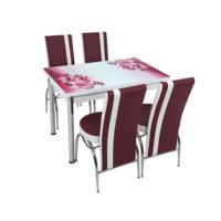 Osmanlı Mutfak Masa Takımı Masa + 4 Lale Sandalye Mürdüm Çiçek