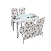 Osmanlı Mutfak Masa Takımı Masa + 4 Lale Sandalye Kahve Çiçek