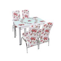 Osmanlı Mutfak Masa Takımı Masa + 6 Lale Sandalye Pembe Gül