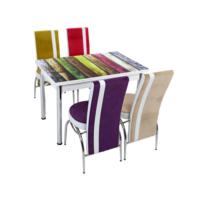 Osmanlı Mutfak Masa Takımı Masa + 6 Lale Sandalye Renkli Ahşap