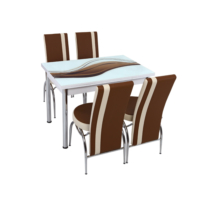 Osmanlı Mutfak Masa Takımı Masa + 6 Lale Sandalye Kahve Dalga