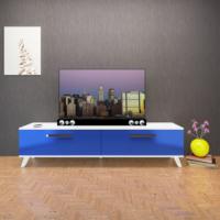 Eyibil Mobilya 180 Cm Tv Sehpası Tv Ünitesi Highgloss Mdf Gövde Beyaz Kapak P.Mavi