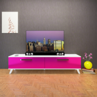 Eyibil Mobilya 180 Cm Tv Sehpası Tv Ünitesi Highgloss Mdf Gövde Beyaz Kapak Fuşya