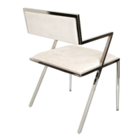 Altıncı Cadde Paslanmaz Çelik Ayaklı Kollu Sandalye Bej Renk
