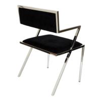 Altıncı Cadde Paslanmaz Çelik Ayaklı Kollu Sandalye Siyah Renk