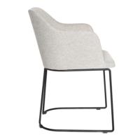 Altıncı Cadde Plus Kolçaklı Siyah Tel Ayaklı Sandalye Bej Renk