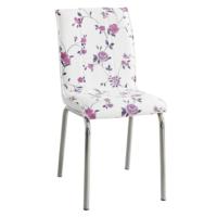 Evinizinmobilyasi İmalattan Satış Deri Pedli Sandalye Lila Çiçek Desenli