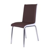 Evinizin Mobilyası Deri Pedli Sandalye Kahverengli Baklava Desenli