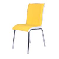 Evinizin Mobilyası Deri Pedli Sandalye Sarı Baklava Desenli