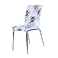 Evinizin Mobilyası Deri Pedli Sandalye Siyah Halka Desenli