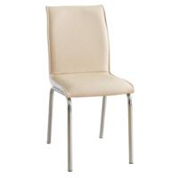 Evinizin Mobilyası Deri Pedli Sandalye Bej Baklava Desenli