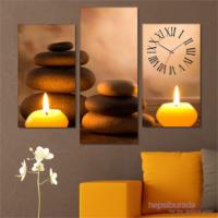 Tabloshop - Candle And Stone Tablo Saat - 81X60cm - Çerçeve Hediye