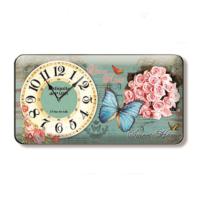 Time Gold Sardunya Duvar Saati Çiçek Kelebek