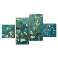 Van Gogh Badem Ağacı - 4 Parçalı Kanvas Saat