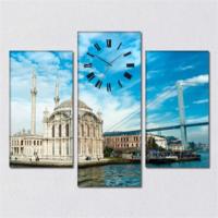 Tabloshop - Ortaköy Camii 3 Parçalı Simetrik Canvas Tablo Saat - 80X60cm