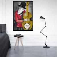 Bass Müzisyen - Çerçeveli Kanvas Saat
