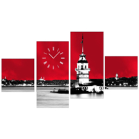 Kız Kulesi - 4 Parçalı Kanvas Saat