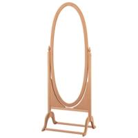 Masifart 4119 Büyük Ovel Boy Aynası Cilasız Ahşap