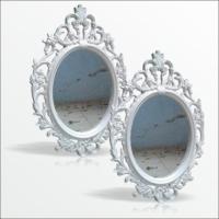 50X70Cm 2 Li İşlemeli Desenli Rustik Çerçeveli Beyaz Duvar Aynası