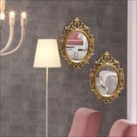 İşlemeli Oyma Çerçeveli Çift Rustik 50X70Cm Cam Duvar Boy Aynası
