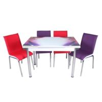 Evinizin Mobilyası açılır cam mutfak masası masa sandalye duman desenli(4 sandalyeli)