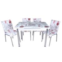 Evinizin Mobilyası açılır cam mutfak masası masa sandalye dünya desenli(4 sandalyeli)