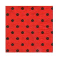 Elitparti Kırmızı Üzerine Siyah Puantiyeli Karton Peçete