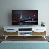 Eyibil Mobilya Arya 180 cm CNC Kesim Gövde Beyaz Kapak Ceviz Beyaz Tv Sehpası