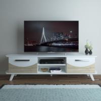 Eyibil Mobilya Arya 180 cm CNC Kesim Gövde Beyaz Kapak Meşe Beyaz Tv Sehpası