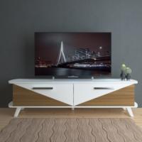 Eyibil Mobilya Elit 180 cm CNC Kesim Gövde Beyaz Kapak Ceviz Beyaz Tv Sehpası