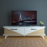 Eyibil Mobilya Elit 180 cm CNC Kesim Gövde Beyaz Kapak Meşe Beyaz Tv Sehpası