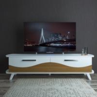 Eyibil Mobilya Modern 180 cm CNC Kesim Gövde Beyaz Kapak Ceviz Beyaz Tv Sehpası