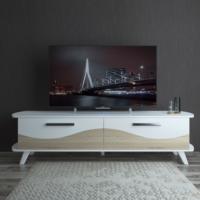 Eyibil Mobilya Modern 180 cm CNC Kesim Gövde Beyaz Kapak Meşe Beyaz Tv Sehpası