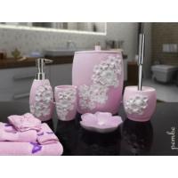 Byselim Lamina Pembe Beyaz Polyester Banyo Seti