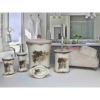 Byselim Woody Beyaz Beyaz Polyester Banyo Seti