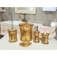 Byselim Woody Altın Beyaz Polyester Banyo Seti