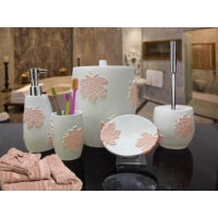 Byselim Flora Beyaz Somon Polyester Banyo Seti