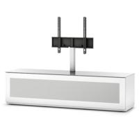 Sonorous 165 Cm Bazalı Gizli Tekerlekli Beyaz Kasa Beyaz Cam Kaplamalı Ön Düşer Kapaklı Asklı Tv Sehpası Max 60''
