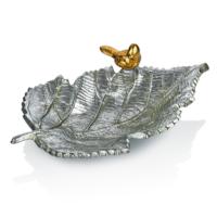 Cemile Altın Kuşlu Gümüş Renkli Geniş Dekoratif Yaprak