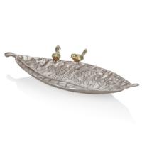 Cemile Altın Kuşlu Gümüş Renkli Geniş Uzun Dekoratif Yaprak