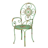 Wenge Home Metal Antik Yeşil Sandalye Sandalye 54x57x99 Cm