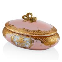 Cemile Somon Üzerine Altın Desenli Cam Aksesuar