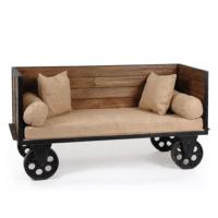 Urbanoloji Endüstriyel Sofa Bench-Döküm Tekerlekli