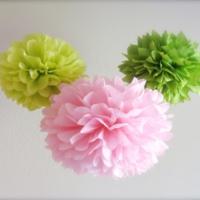 Bebekparti Ponpon Çiçek 3'lü Pembe Yeşil