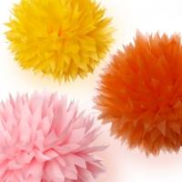 Bebekparti Ponpon Çiçek 3'lü Pembe Sarı Turuncu