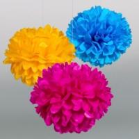 Bebekparti Ponpon Çiçek 3'lü Fuşya Sarı Mavi