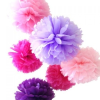 Bebekparti Ponpon Çiçek 6'lı Pembe Mor Fuşya Lila
