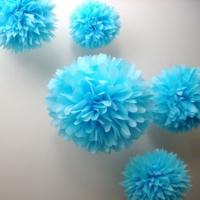 Bebekparti Ponpon Çiçek 5'li Mavi