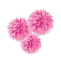 Bebekparti Ponpon Çiçek 3'lü Fuşya
