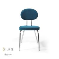 Vilinze Bulut Sandalye, Mavi Flok Kumaş, Krom Ayak 2'Li Kutu, Vilinze Tasarım Sandalyeler, Masaya Davet